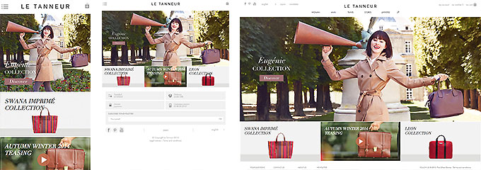革製品を扱うショップサイト
